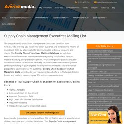 Supply Chain Management Executives Mailing List