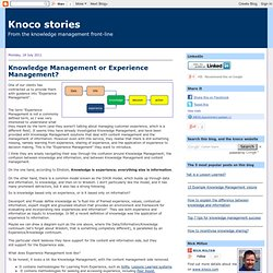 Knowledge Management or Experience Management?