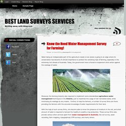 Know the Need Water Management Survey for Farming!