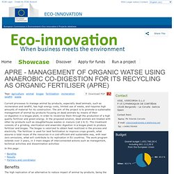 APRE - MANAGEMENT OF ORGANIC WATSE USING ANAEROBIC CO-DIGESTION FOR ITS RECYCLING AS ORGANIC FERTILISER - Eco-Innovation