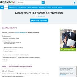 Cours management : La finalité de l'entreprise