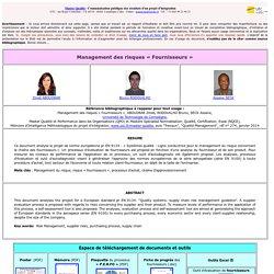 Master et Mastère - Qualité - UTC - Management des Risques Fournisseurs - Projet - Janvier 2014