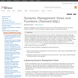 Dynamic Management Views and Functions (Transact-SQL)