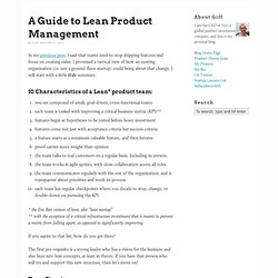 A Guide to Lean Product Management