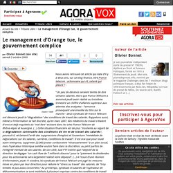 Le management d'Orange tue, le gouvernement complice