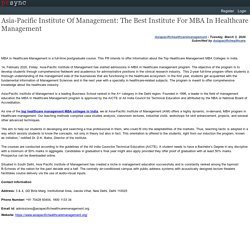 MBA In Healthcare Management In India