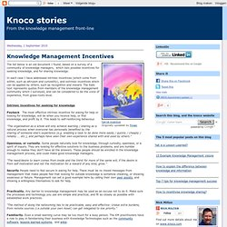 Knowledge Management Incentives
