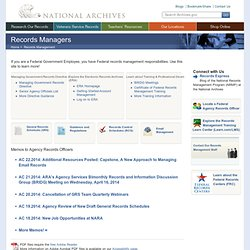 The National Archives Records Management Information Page