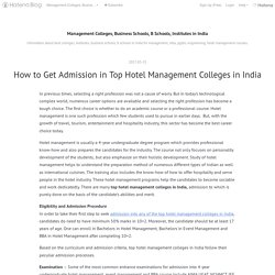 How to Get Admission in Top Hotel Management Colleges in India - Management Colleges, Business Schools, B Schools, Institutes in India