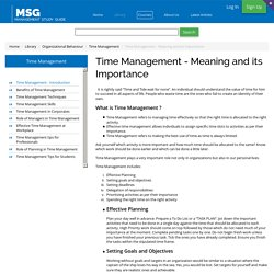 Time Management - Meaning and its Importance
