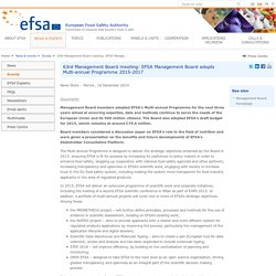 EFSA Event: 63rd Management Board meeting: EFSA Management Board adopts Multi-annual Programme 2015-2017