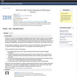 IBM Lotus Web Content Management Multilingual Solution