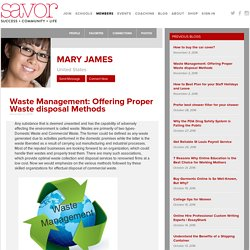 Waste Management: Offering Proper Waste disposal Methods