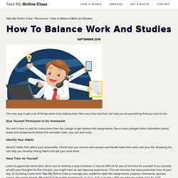 How to Balance Work and Studies