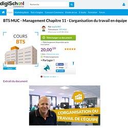 Cours Management BTS MUC : L'organisation du travail en équipe