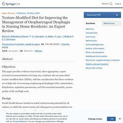 Texture-Modified Diet for Improving the Management of Oropharyngeal Dysphagia in Nursing Home Residents: An Expert Review