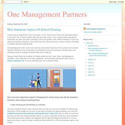 One Management Partners: Most Important Aspects Of School Cleaning