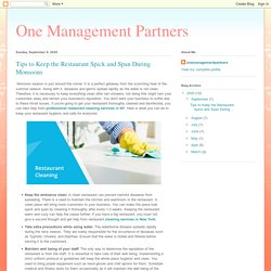 One Management Partners: Tips to Keep the Restaurant Spick and Span During Monsoons