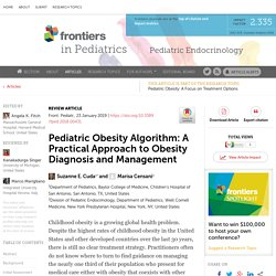Pediatric Obesity Algorithm: A Practical Approach to Obesity Diagnosis and Management