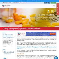 Quality Management System for Pharmaceuticals Industry