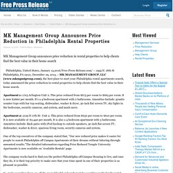 Management services News: MK Management Group Announces Price Reduction in Philadelphia Rental Properties