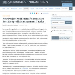 New Project Will Identify and Share Best Nonprofit Management Tactics