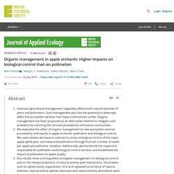 BRITISH ECOLOGICAL SOCIETY 25/07/18 Organic management in apple orchards: Higher impacts on biological control than on pollination