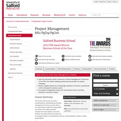 Project Management MSc/PgDip/PgCert