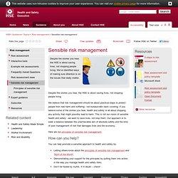 Risk management: Principles of sensible risk management