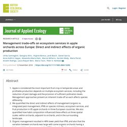 JOURNAL OF APPLIED ECOLOGY 12/11/18 Management trade‐offs on ecosystem services in apple orchards across Europe: Direct and indirect effects of organic production