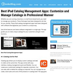 iPad Catalog Management Apps: Customize and Manage Catalogs in Professional Manner