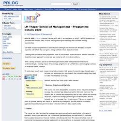 LM Thapar School of Management - Programme Details 2020