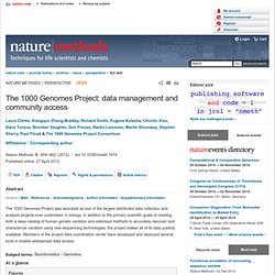 The 1000 Genomes Project: data management and community access : Nature Methods
