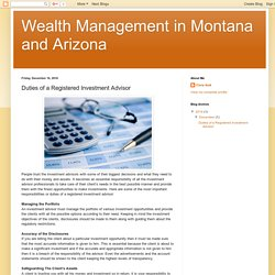 Wealth Management in Montana and Arizona: Duties of a Registered Investment Advisor