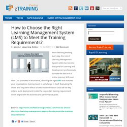 How to Choose the Right Learning Management System (LMS) to Meet the Training Requirements?