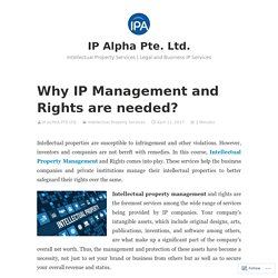 Do you Know why IP Management and Rights are needed?