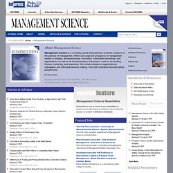 Management Science -- Sign In Page
