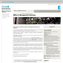 MRes in Management Sciences - Research Programmes - ESADE Law & Business Schools