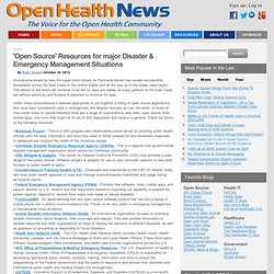 'Open Source' Resources for major Disaster & Emergency Management Situations