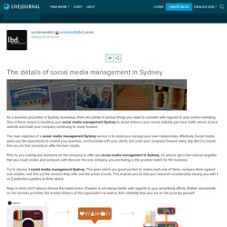 The details of social media management in Sydney: socialmedialbd