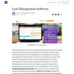 Lead Management Software - Minavo™ Telecom Networks - Medium