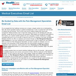 Pain Management Specialists Email List : Mailing Addresses Database