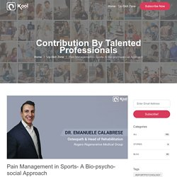 Pain Management in Sports- A Bio-psycho-social Approach