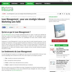 Lean Management : pour une stratégie Inbound Marketing sans faille