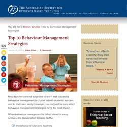 Top 10 Behaviour Management Strategies