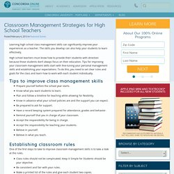 Classroom Management Strategies for High School Teachers