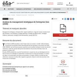 Analyse du management stratégique de l'entreprise Zara (2008)