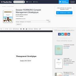 Dossier FERRERO Complet Management Stratégique - Kibuni Montana - Corrigés de devoir