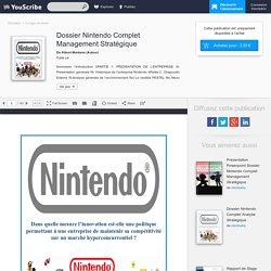Dossier Nintendo Complet Management Stratégique - Kibuni Montana - Corrigés de devoir
