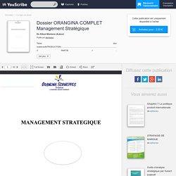 Dossier ORANGINA COMPLET Management Stratégique - Kibuni Montana - Corrigés de devoir